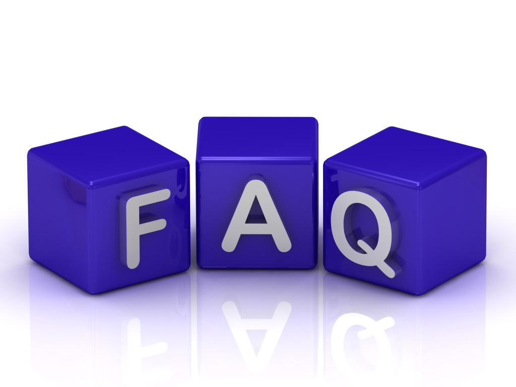 FAQ text on blue cubes on white background